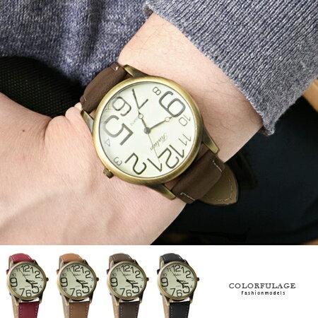 手錶 簡約大小數字造型腕錶 復古質感錶框 中性單品多色錶帶 柒彩年代【NE1401】現貨不用等 0