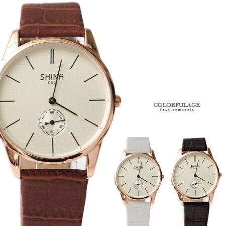 手錶 簡約刻度 獨立秒針極簡造型 質感皮革手錶 情侶對錶 柒彩年代【NE1403】單支價格