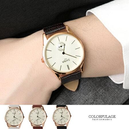 手錶 簡約刻度 獨立秒針極簡  皮革手錶 情侶對錶 柒彩年代~NE1403~單支