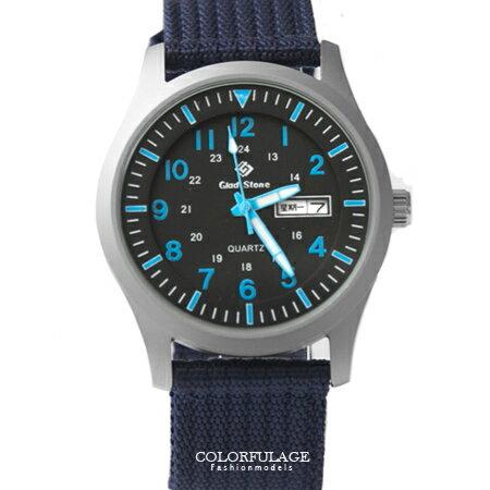 手錶 型男軍用帆布腕錶 搭戴SEIKO精工VX43石英機芯 厚實質感帆布錶帶 柒彩年代【NE1406】單支