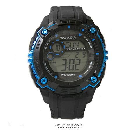 JAGA捷卡 豪邁設計運動風格多功能電子錶手錶 型男必備 防水100米 柒彩年代【NE1411】原廠公司貨 0