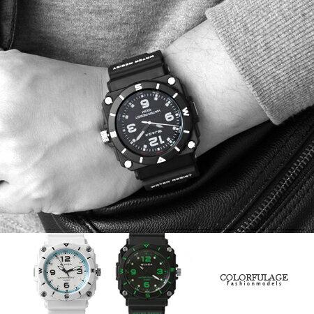 JAGA捷卡 軍式風格休閒運動夜光指針手錶 冷光功能 防水100米 柒彩年代【NE1415】原廠公司貨 0
