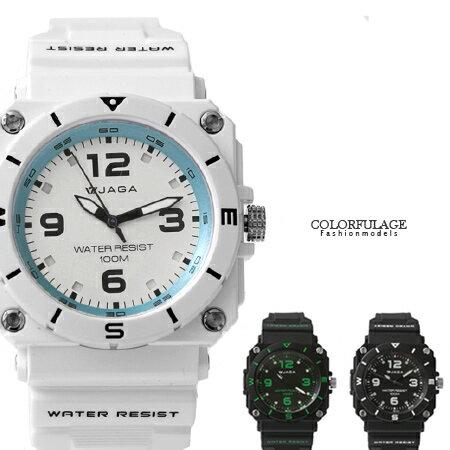 JAGA捷卡 軍式風格休閒 夜光指針手錶 冷光 防水100米 柒彩年代~NE1415~ 貨