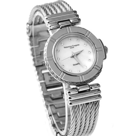 Valentino范倫鐵諾 珍珠貝面鋼索鍊腕錶手錶 藍寶石水晶鏡面 柒彩年代【NE1419】原廠公司貨 - 限時優惠好康折扣
