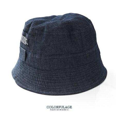 丹寧原色布料漁夫帽 素面貼標休閒風格 遮陽帽 紳士帽 四季皆可配戴 柒彩年代【NH182】透氣舒適 0