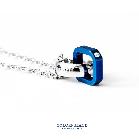 項鍊 藍極光雙環設計綴水鑽love字樣白鋼項鍊 雙色環 潮流日系款式 柒彩年代【NB646】極簡風格 0
