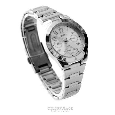 CASIO卡西歐 經典星光銀真三眼經典設計手錶 時尚腕錶 有保固 柒彩年代【NE1429】原廠公司貨 0