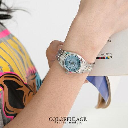 Valentino范倫鐵諾 經典款小鏡面水藍波浪壓紋腕錶手錶 日期窗顯示 柒彩年代【NE956】原廠公司貨 0