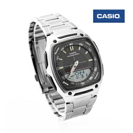 CASIO日本卡西歐手錶 方型黑面指針數位雙顯示多功能腕錶 防水50米 柒彩年代【NE1438】原廠公司貨 0