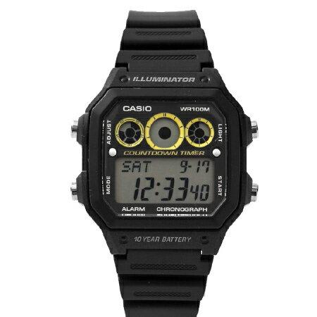 CASIO卡西歐 環保風格 十年電力全黑亮黃電子錶盤手錶 100M防水 柒彩年代【NE1441】原廠公司貨