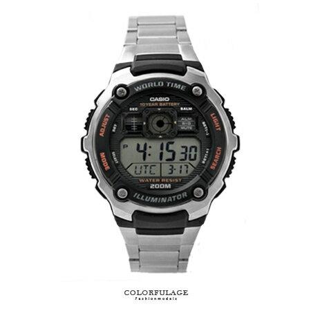 CASIO日本卡西歐手錶 仿飛機儀表板不鏽鋼雙顯腕錶 200M防水 十年電力 柒彩年代【NE1444】公司貨 - 限時優惠好康折扣