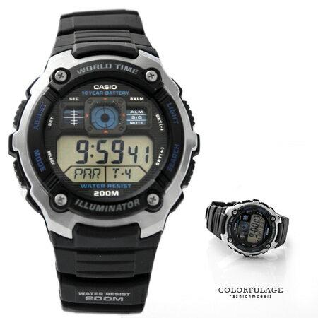 CASIO日本卡西歐手錶 仿飛機儀表板輕美學雙顯腕錶膠錶 200M防水 十年電力 柒彩年代【NE1445】公司貨