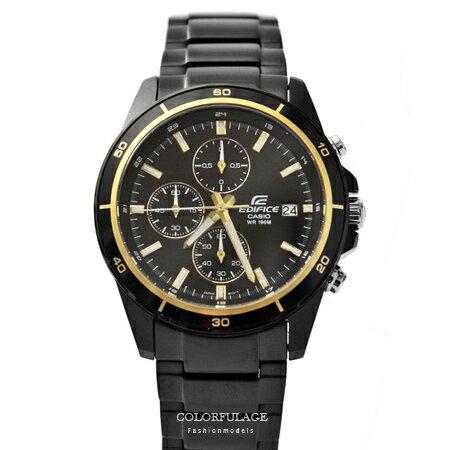 CASIO卡西歐EDIFICE系列 黑金三眼賽車腕錶不鏽鋼腕錶 防水100米手錶 柒彩年代【NE1451】原廠公司貨 0