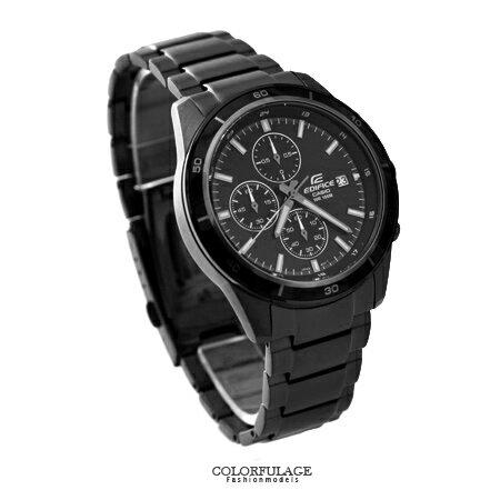 CASIO卡西歐EDIFICE系列 全黑三眼賽車腕錶不鏽鋼腕錶 防水100米手錶 柒彩年代【NE1452】原廠公司貨