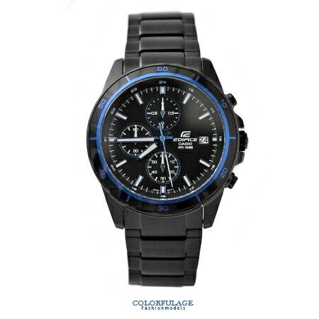 CASIO卡西歐EDIFICE系列 黑藍三眼賽車腕錶不鏽鋼腕錶 防水100米手錶 柒彩年代【NE1453】原廠公司貨