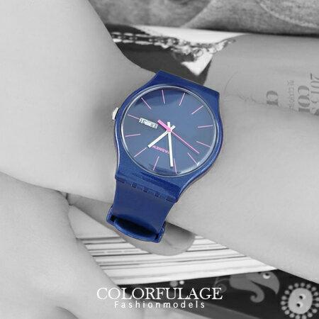 手錶 極簡沉穩配色線條刻度亮粉彩色膠錶 中性實用錶款 夜光指針 防水3ATM 柒彩年代【NE988】單支 0