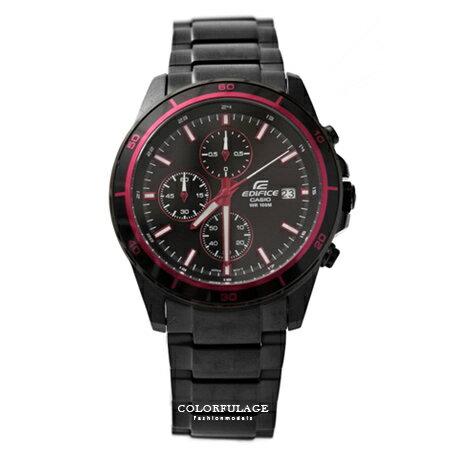 CASIO卡西歐EDIFICE系列 紅黑三眼賽車腕錶不鏽鋼腕錶 防水100米手錶 柒彩年代【NE1455】原廠公司貨