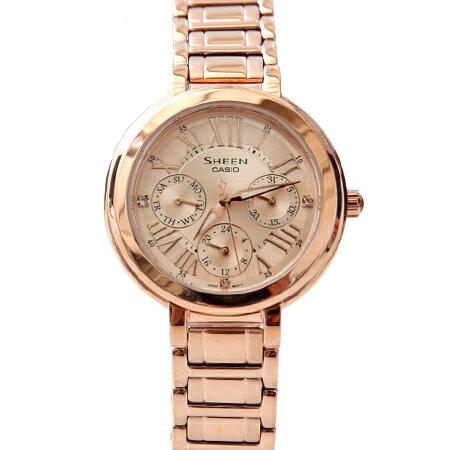 CASIO卡西歐SHEEN系列 奢華玫瑰金三眼不鏽鋼手錶 女人優雅設計 柒彩年代【NE1462】原廠公司貨 0