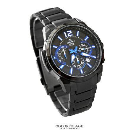 CASIO卡西歐EDIFICE系列 時尚藍黑科技智慧賽車錶 三眼不鏽鋼手錶100米防水 柒彩年代【NE1465】原廠