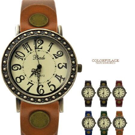 手錶 復古異國風清晰數字復刻邊框腕錶 扣環造型真皮錶帶 柒彩年代【NE1472】單支 0