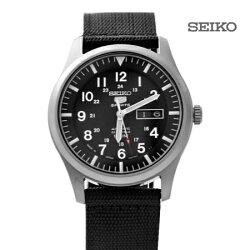 經典帆布SEIKO精工五號 全黑軍用機械錶 裱背鏤空 自動上鍊手錶 柒彩年代【NE1473】原廠平輸