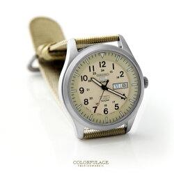 經典帆布SEIKO精工五號 卡其軍用機械錶 裱背鏤空 自動上鍊手錶 柒彩年代【NE1475】原廠平輸