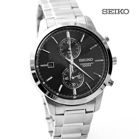 SEIKO精工WATCH雙眼計時日期黑面不鏽鋼腕錶手錶 防水100M 柒彩年代【NE1478】原廠平行輸入 0