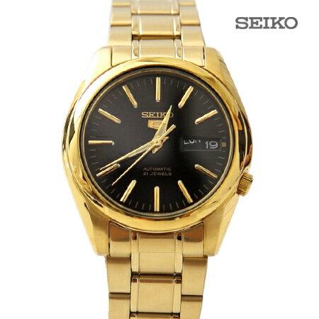 SEIKO精工五號 黑金簡約刻度自動上鍊機械錶 裱背鏤空 自動上鍊手錶 柒彩年代【NE1480】原廠平輸
