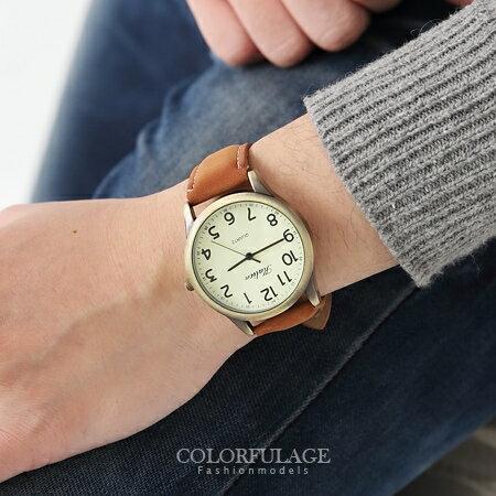 手錶 風雅 簡約素面數字皮革手錶 可搭情侶錶 柒彩年代~NE1096~單支