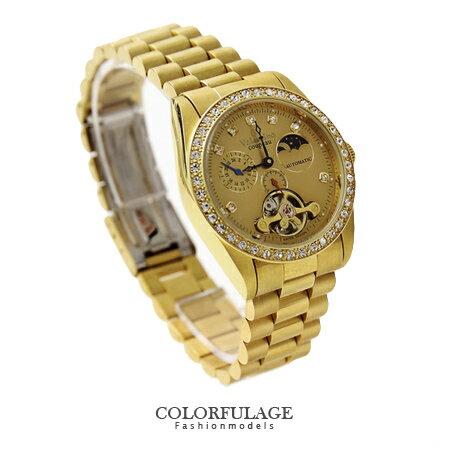 鏤空水鑽金色自動上鍊機械腕錶 獨立秒盤 擺輪手錶 范倫鐵諾Valentino 柒彩年代 【NE1124】公司貨 0