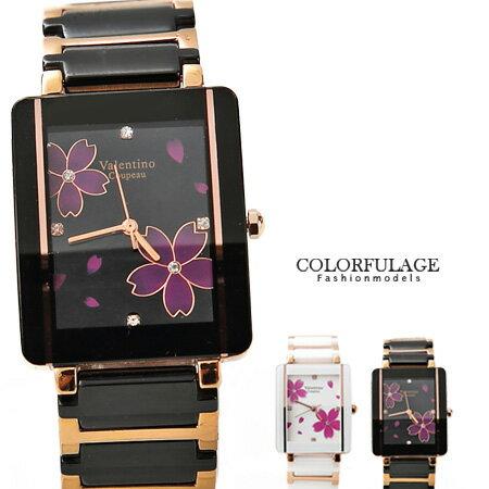 Valentino范倫鐵諾 奢華玫瑰金櫻花精密陶瓷手錶腕錶 原廠公司貨 柒彩年代【NE1046】單支