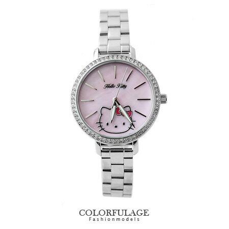 粉色系Hello Kitty原廠公司貨凱蒂貓腕錶 珍珠貝殼錶盤 柒彩年代【NE1098】生日禮物 0