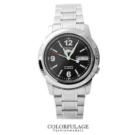 低調黑精工盾牌五號SEIKO自動上鍊機械手錶 大數字夜光刻度 柒彩年代【NE1115】防水百米