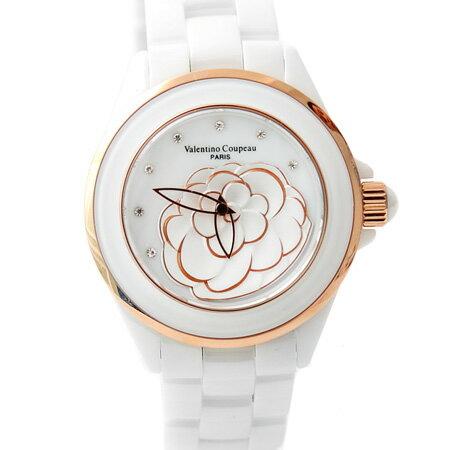 Valentino范倫鐵諾 獨特浮雕玫瑰金山茶花精密全陶瓷手錶腕錶 柒彩年代【NE1118】單支價格 0