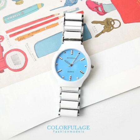 手錶 五彩繽紛 馬卡龍切割鏡面立體玫瑰金鉚釘刻度陶瓷腕錶手錶 柒彩年代【NE1093】單支價格