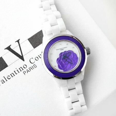 Valentino范倫鐵諾 獨特浮雕山茶花精密全陶瓷手錶腕錶 柒彩年代~NE1057~單支