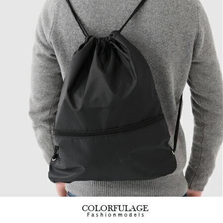 休閒束口袋 尼龍潮流後背包.肩背包.手提包 簡約黑色柒彩年代【NZ361】型男人氣配件