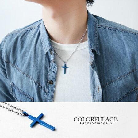 精緻玫瑰金立體十字架項鍊 中性款可搭配成情侶對鍊 經典素面 柒彩年代【NB583】 0