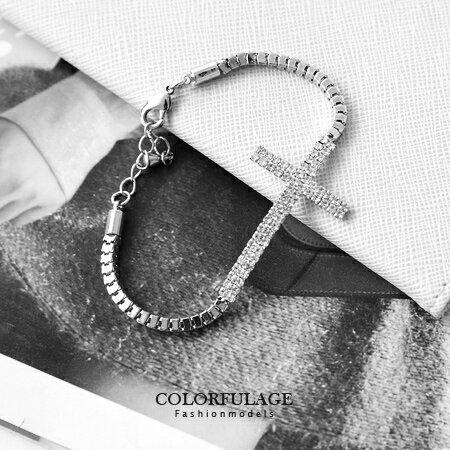 手鍊 繽紛閃耀 華麗鑲滿水鑽十字架蛇鍊 手鍊手環 bling風格單品 柒彩年代~NA254