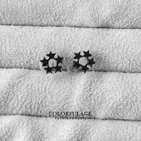 耳環 星空幻想 神秘純黑系五角滿天星造型耳針耳環 潮流單品 柒彩年代【ND155】一對價格