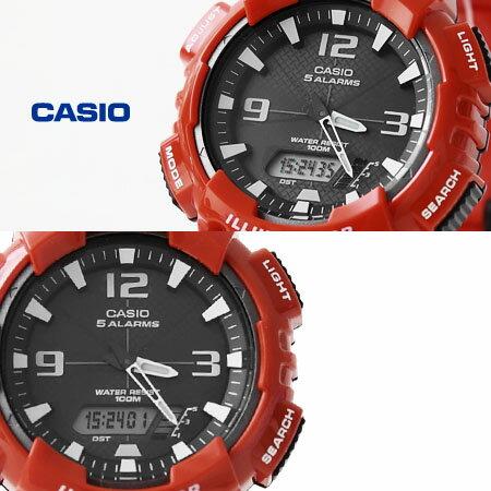 CASIO 卡西歐太陽能手錶 路跑 紅色雙顯腕錶 100M防水 柒彩年代~NE1152~