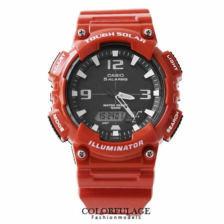 CASIO日本卡西歐太陽能手錶 路跑運動紅色雙顯腕錶 100M防水設計 柒彩年代【NE1152】原廠公司貨