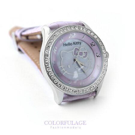 Hello Kitty凱蒂貓手錶 嫩紫色澤三麗甌滿鑽框腕錶 保固一年 柒彩年代【NE1175】原廠公司貨 0