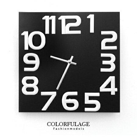 時鐘 簡約時尚立體大數字方型實木指針掛鐘.時鐘 生活品味 柒彩年代【NE1223】創意家飾 0