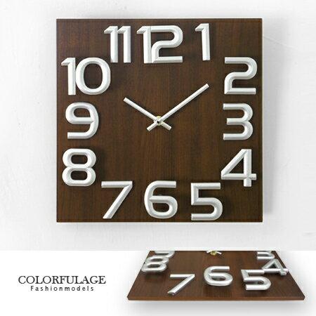 時鐘 簡約趣味立體大數字方型實木指針掛鐘 時鐘 創意家飾 柒彩年代【NE1231】居家美學 0