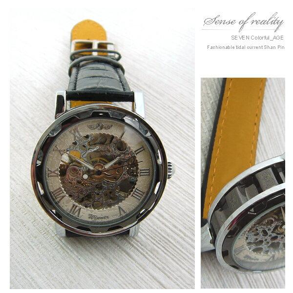 柒彩年代【NE55】極簡全鏤空設計小牛皮表帶自動上鍊機械錶.腕錶~嚴選型男