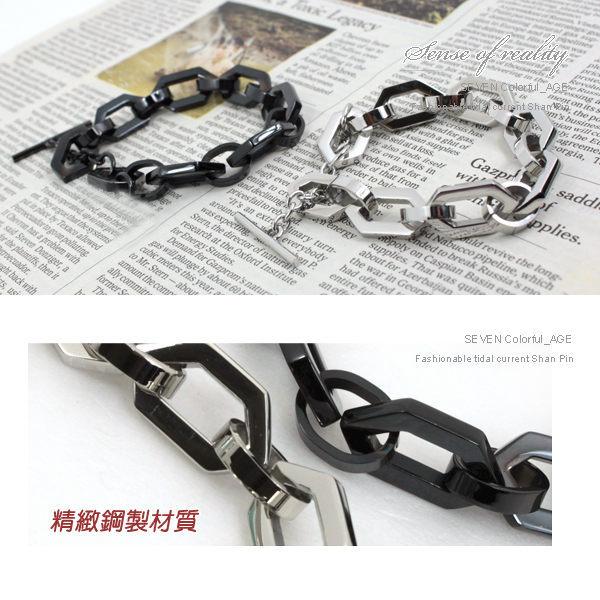 柒彩年代【NA135】免運費~5型男六角鋼製手鍊.專櫃西德鋼手環~抗過敏.氧化.純鋼 0