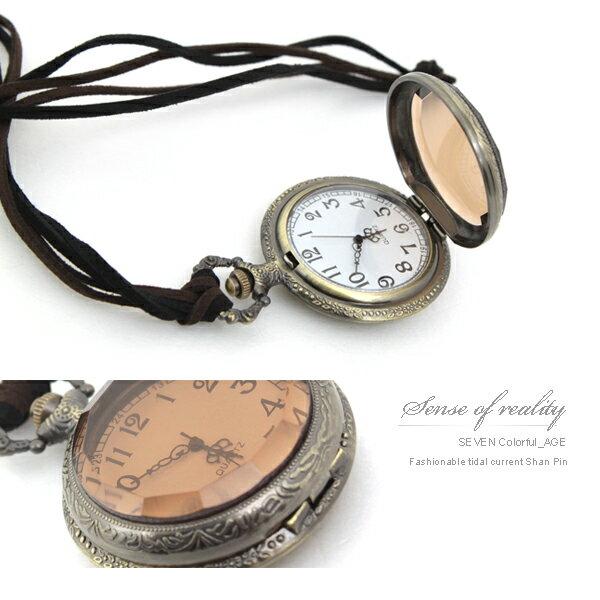 柒彩年代【NB255】真的可看時間大寶石懷錶長項鍊~古著復古色澤手錶.韓系單品 0
