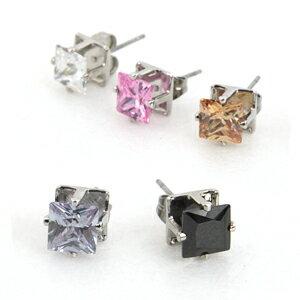 柒彩年代【ND4】磁鐵免打耳洞跟耳針鋼針奧地利水鑽耳環~鋯石方形造型.打造型男單品~單顆價格