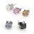 柒彩年代【ND4】磁鐵免打耳洞跟耳針鋼針奧地利水鑽耳環~鋯石方形造型.打造型男單品~單顆價格 0